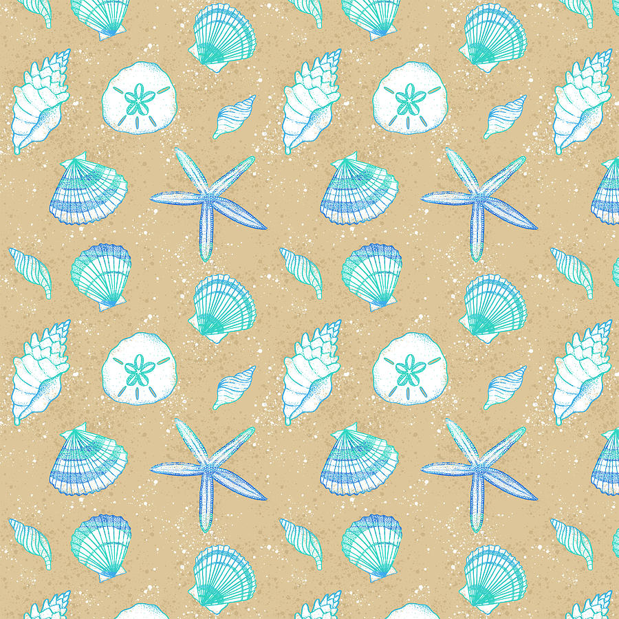 Vibrant Seashell Pattern Tan Sand Background by Jen Montgomery