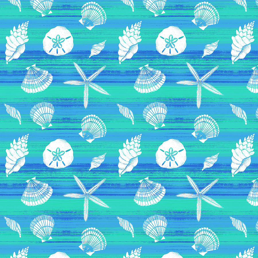 Vibrant Seashell Pattern Tan Teal Background by Jen Montgomery