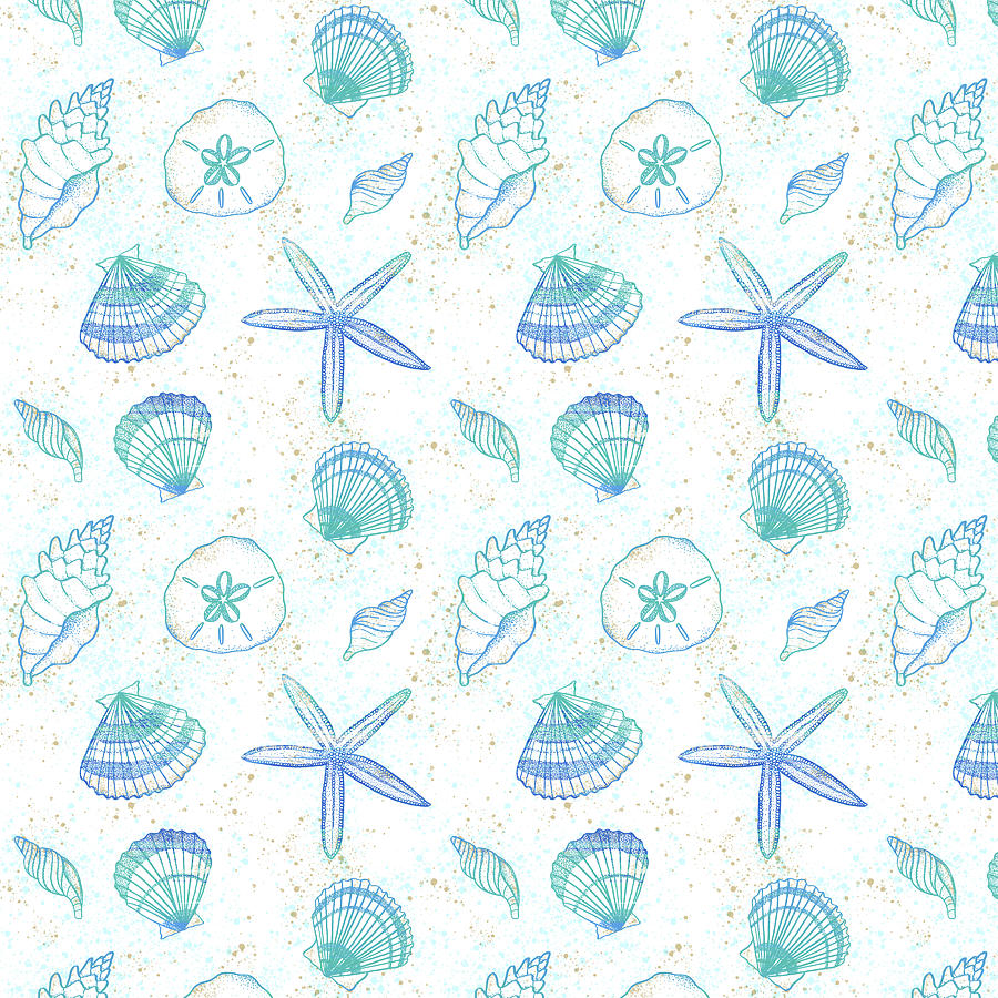 Vibrant Seashell Pattern White Background by Jen Montgomery