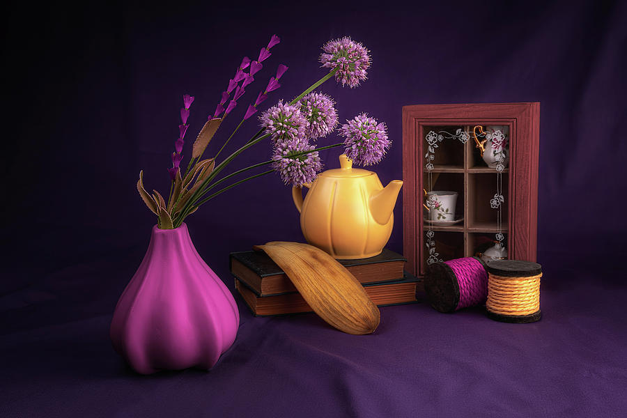 Vibrant Still Life with Purple Alliums by Tom Mc Nemar