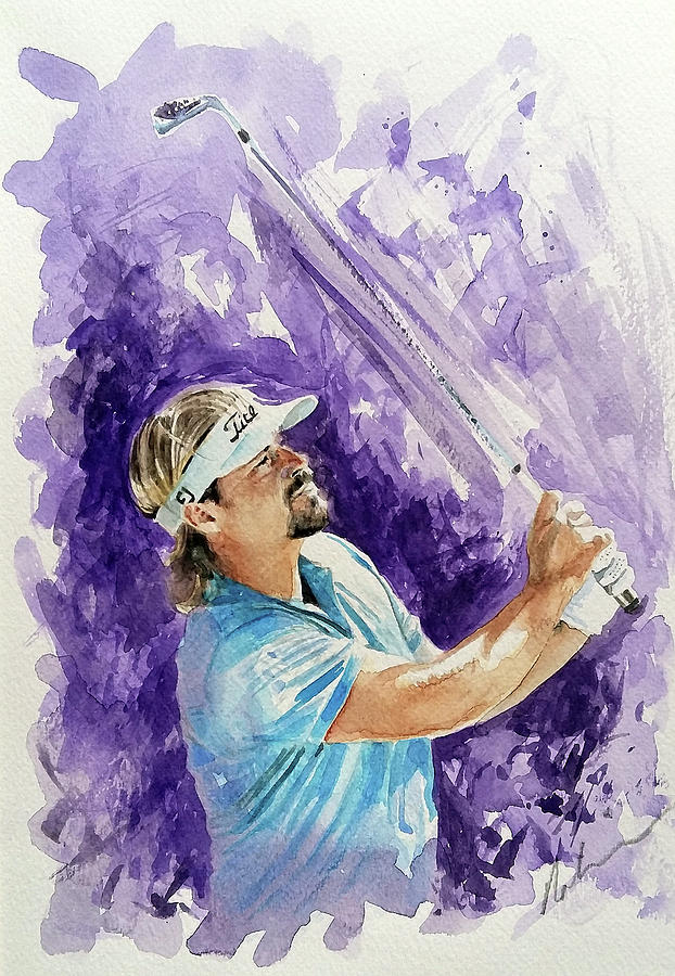 Golfing Painting - Victor Dubisson by Mark Robinson
