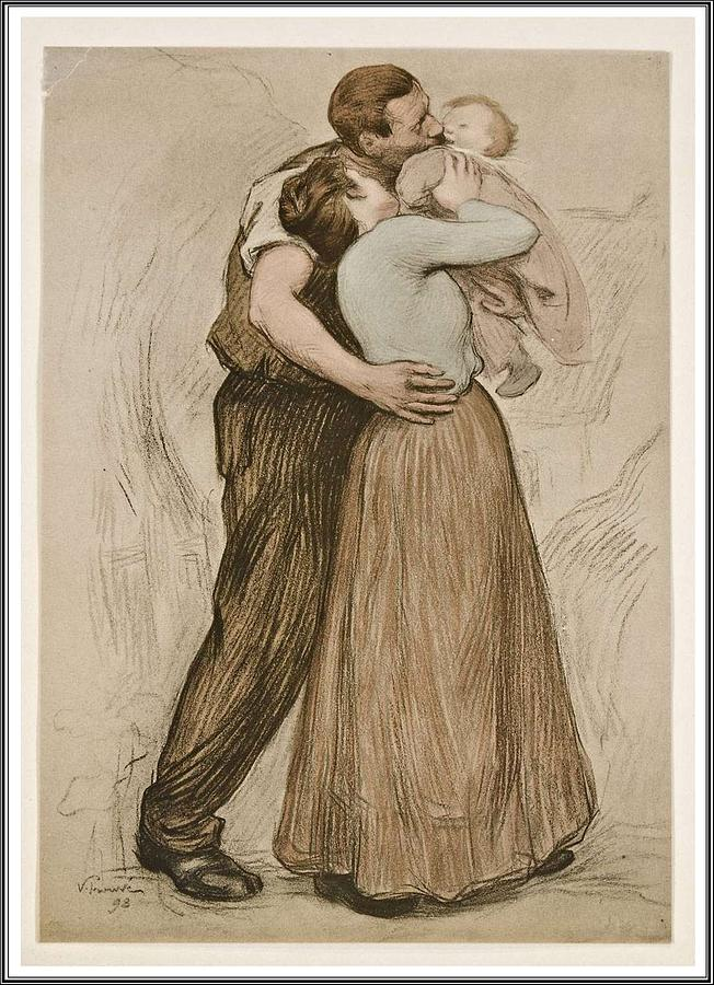 Family Painting - Victor Emile Prouve  French  1858   1943 The Kiss  Le Baiser  1898  Collotype On Wove Paper by Celestial Images