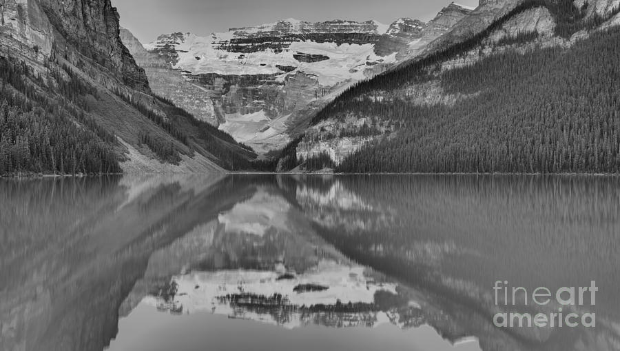 Victoria Glacier Lake Louise Reflections Black And White by Adam Jewell