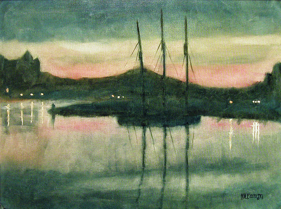 Victoria Painting - Victoria Harbor Evening by Robert Holewinski