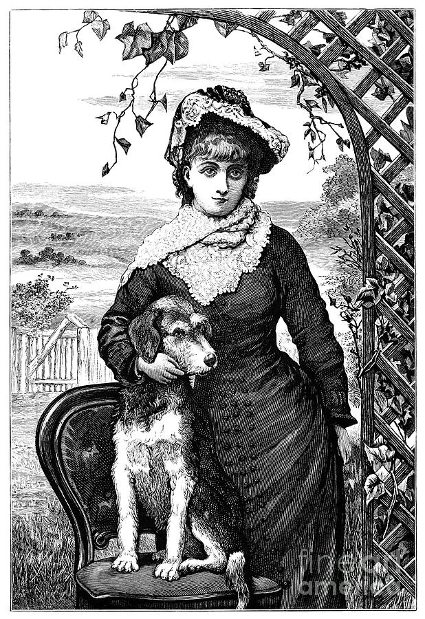Victorian Girl With Her Pet Dog Digital Art by Whitemay