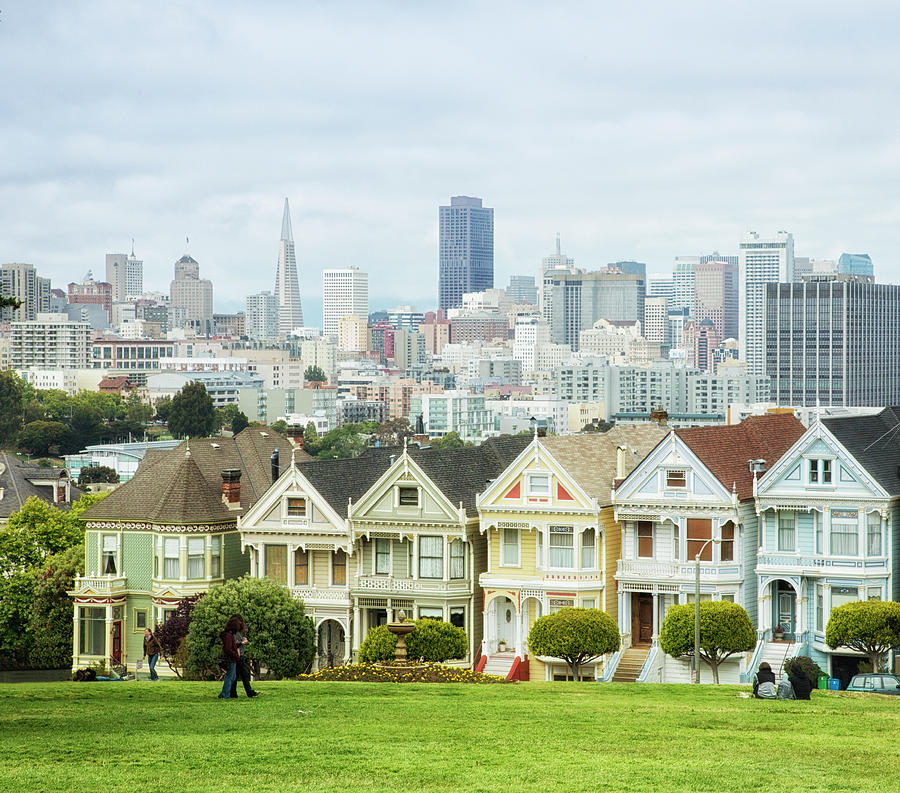 Victorian Houses And San Francisco Photograph by Elisabeth Pollaert Smith
