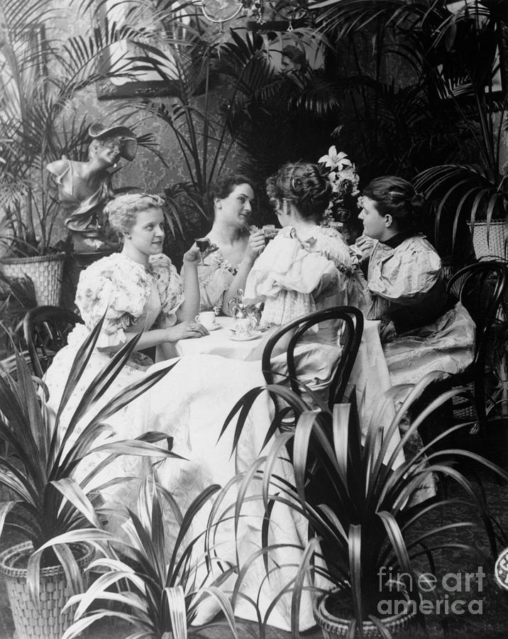 Victorian Ladies At Tea Luncheon Photograph by Bettmann