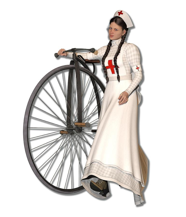 367d6c504e7 Victorian Nurse Along Penny Farthing Bicycle by Betsy Knapp