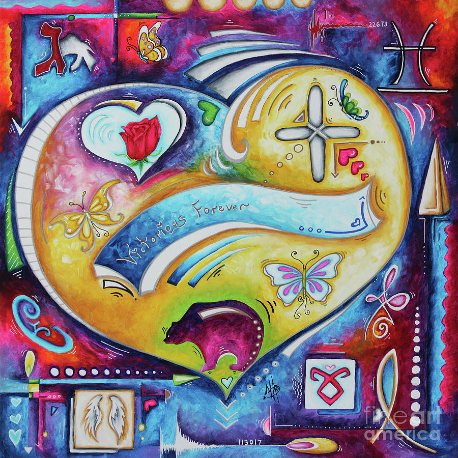 Victorious Forever an original Custom Heart Tribute Painting for a Collector by Megan Duncanson