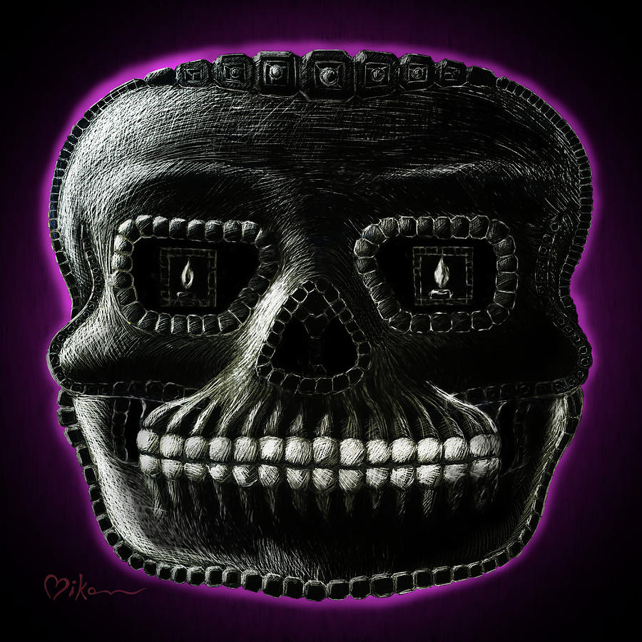 Day Of The Dead Painting - Watchman, Sugarskull Of Passing Time by Miko Zen