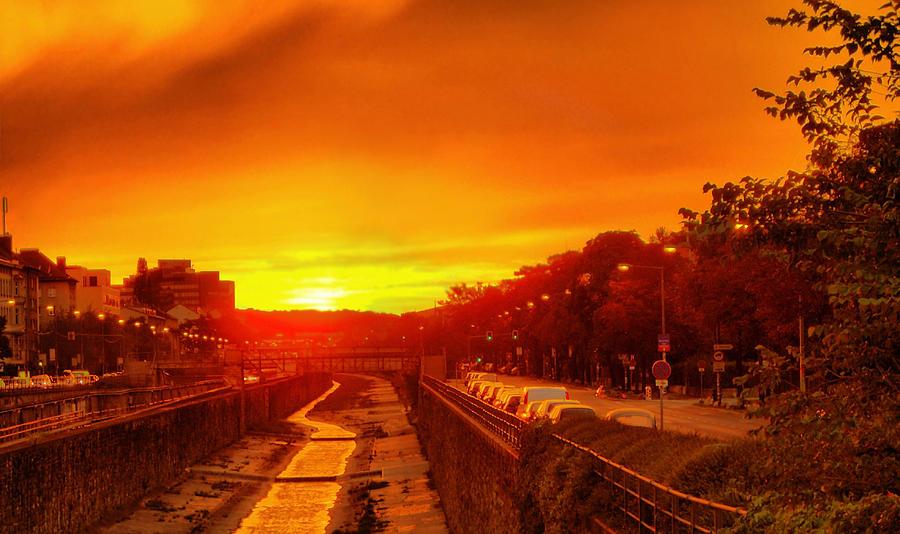 Vienna Bathed In Orange Sunset Light Photograph