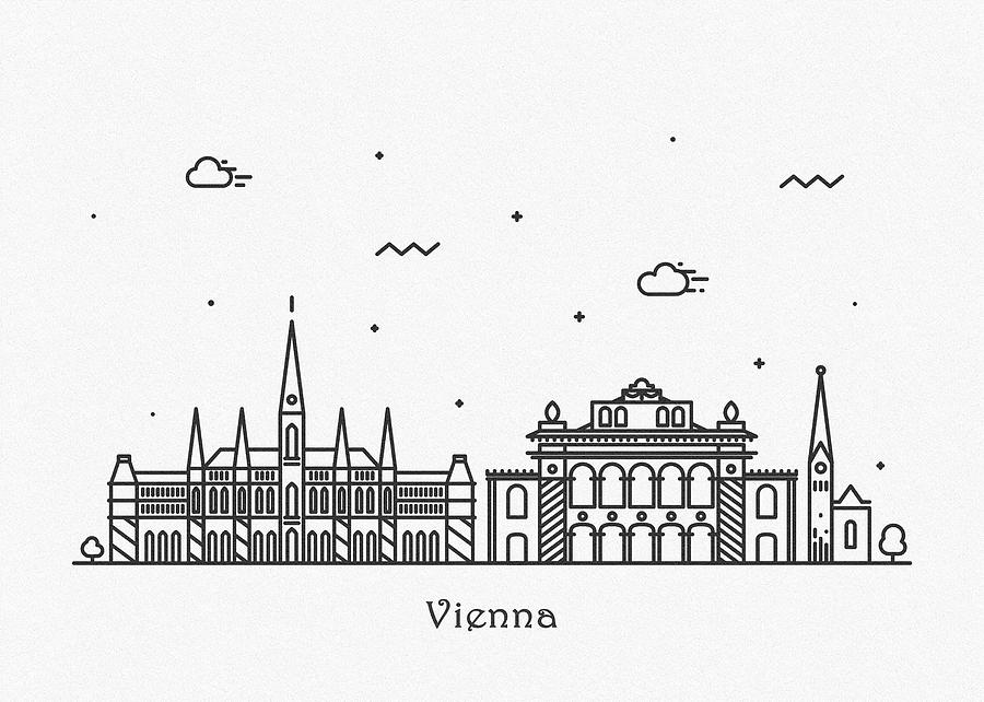Vienna Cityscape Travel Poster by Inspirowl Design