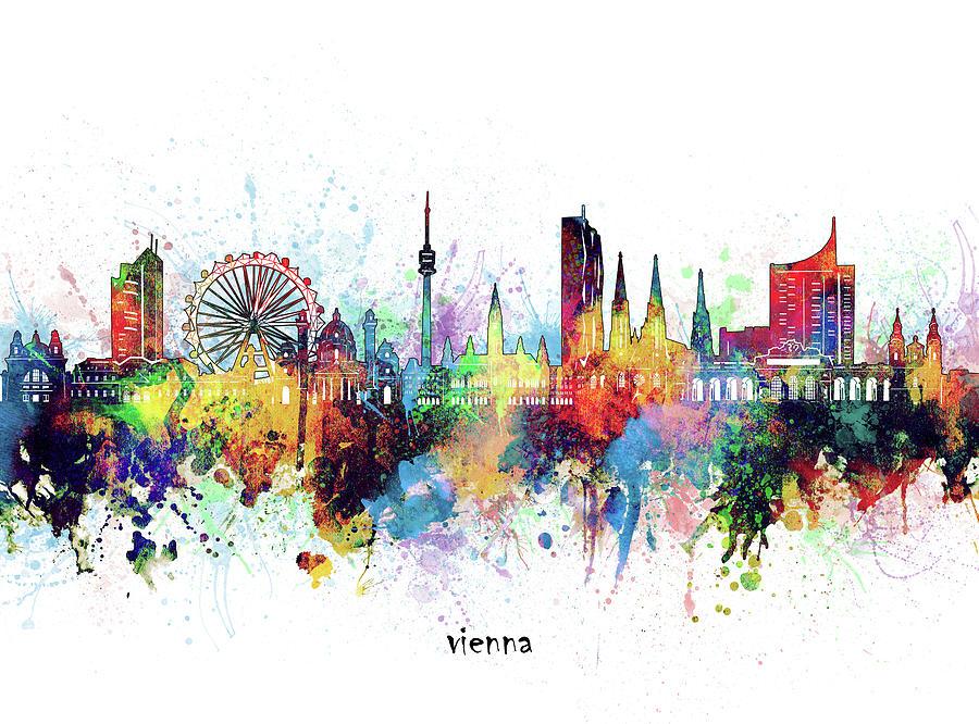 Vienna Digital Art - Vienna Skyline Artistic by Bekim M