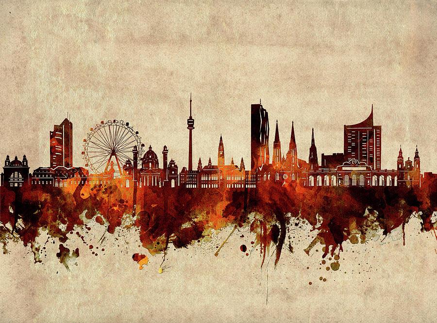 Vienna Digital Art - Vienna Skyline Sepia by Bekim M