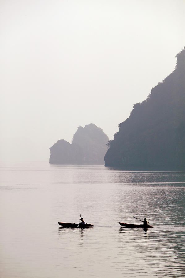 Vietnam, Halong Bay, Two People Photograph by Skip Nall