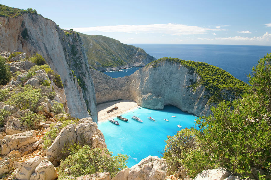 View From Clifftop, Navagio Bay Photograph by David C Tomlinson