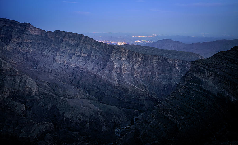 View From Jebel Shams Mountain In Oman At Night Photograph