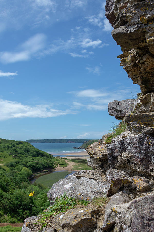 Pennard Castle Photograph - View From Pennard Castle Portrait by Steev Stamford