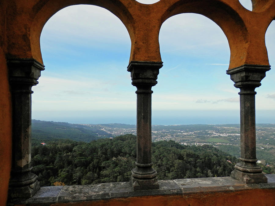 Arch Photograph - View From The Arches Of Pena Castle, Sintra, Portugal by Pema Hou
