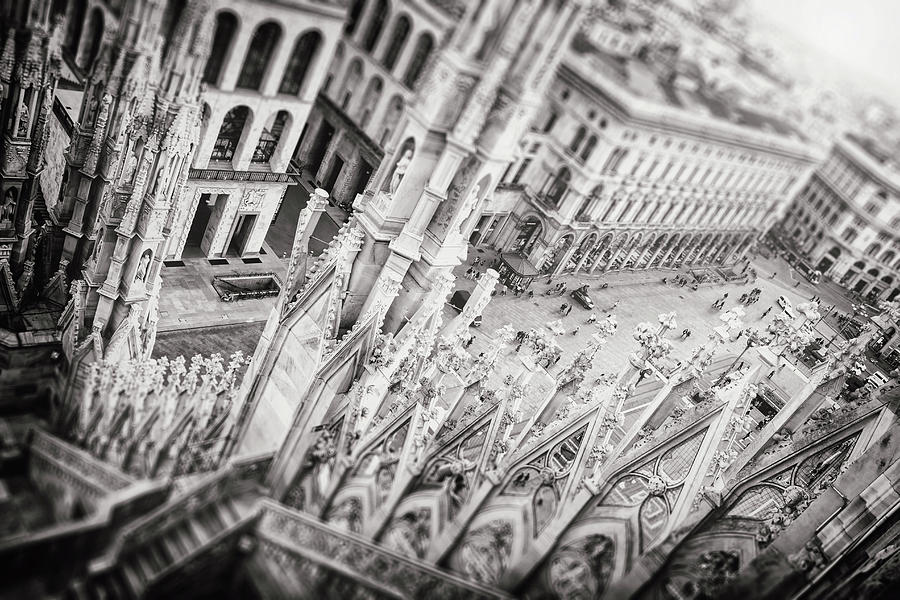 View From The Duomo Milan Italy Black And White Photograph