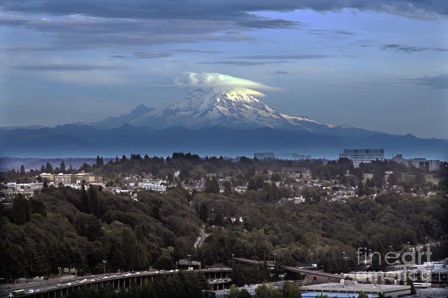 View from the Smith Tower - facing southeast towards Mount Rainier by Mr Pat Hathaway Archives