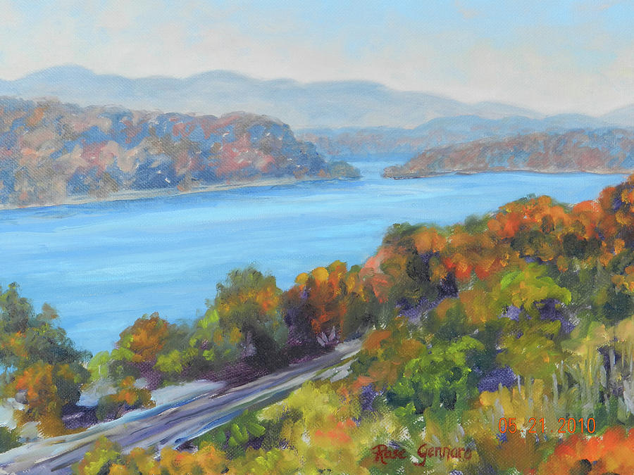 Walkway Over The Hudson Painting - View from Walkway in Fall by Rose Gennaro