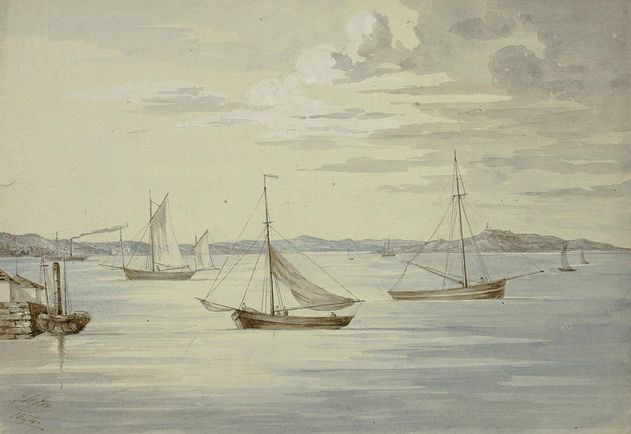 English Painters Drawing - View Inchkeith And The Firth Of Forth Islands From Granton by Elizabeth Murray