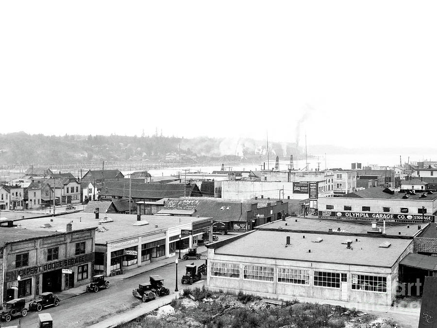 VIEW NW OVER OLYMPIA FROM ELKS BUILDING ON CAPITOL WAY 1929 by Vibert Jeffers