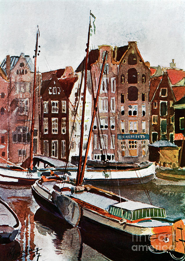 View Of Amsterdam, 1907 1911-1912 Drawing by Print Collector