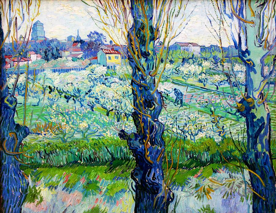 Vincent Van Gogh Painting - View Of Arles, Flowering Orchards - Digital Remastered Edition by Vincent van Gogh