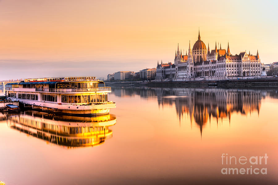 Capital Photograph - View Of Budapest Parliament At Sunrise by Luciano Mortula - Lgm