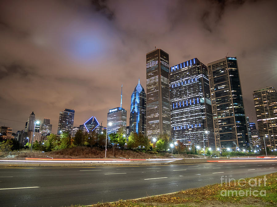 View of Chicago Skyscrappers With Busy Street in the foreground by PorqueNo Studios