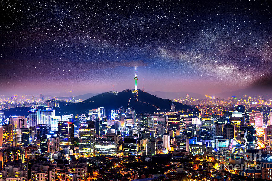 City Photograph - View Of Downtown Cityscape And Seoul by Guitar Photographer