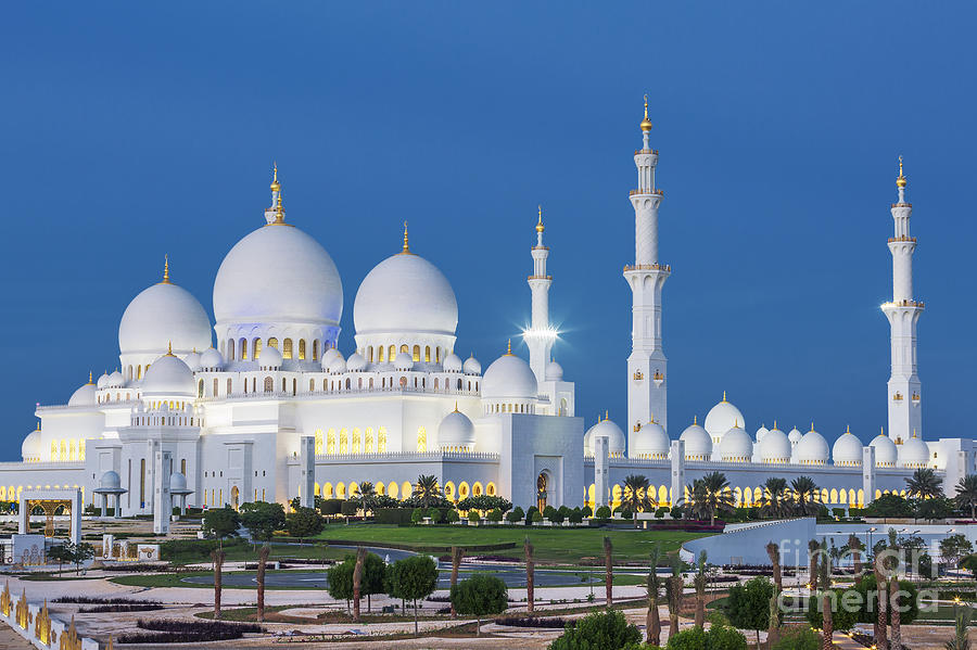 Allah Photograph - View Of Famous Abu Dhabi Sheikh Zayed by Prochasson Frederic