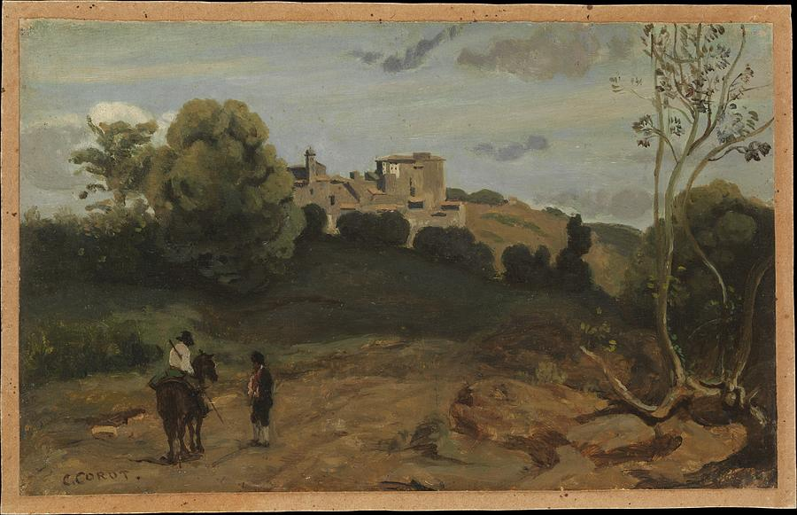View Of Genzano With A Rider And Peasant 1843 Or Later Painting