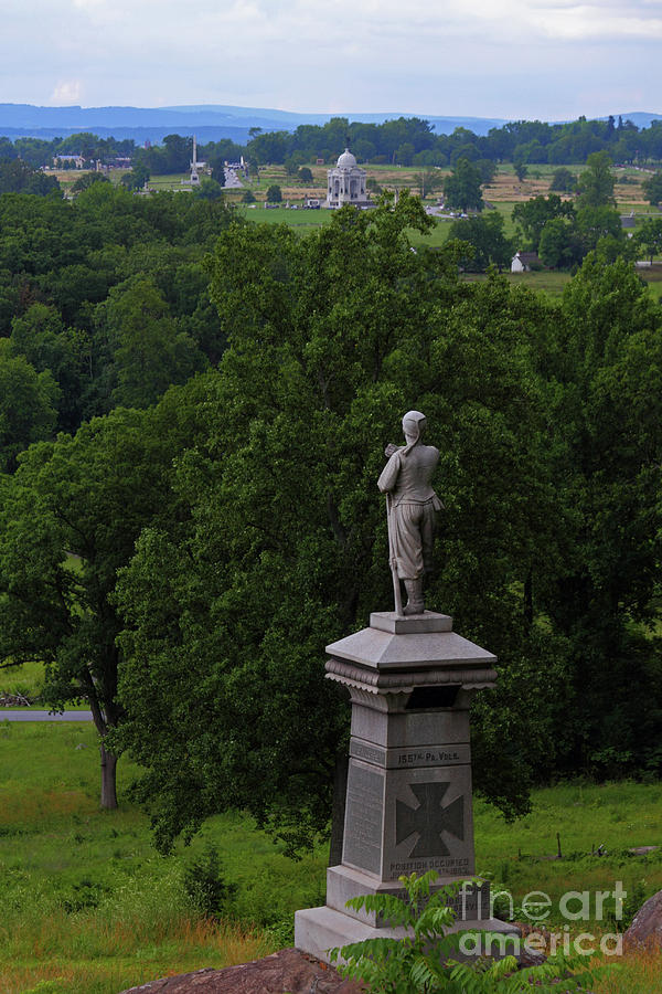 Gettysburg Battlefield Photograph - View Of Gettysburg Battlefield From Little Round Top Hill by James Brunker