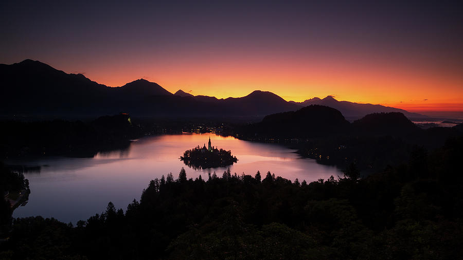 View of Lake Bled at sunrise from Ojstrica by Ian Middleton