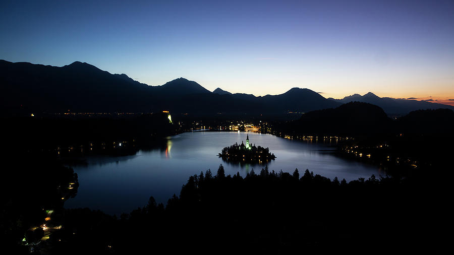 View of Lake Bled from Ojstrica at dawn by Ian Middleton