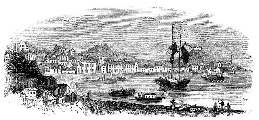 View Of Macao, 1847. Artist Giles Drawing by Print Collector