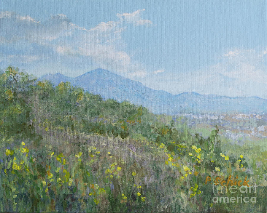 Landscape Painting - View of Saddleback from Rancho Santa Margarita by Pamela Schick