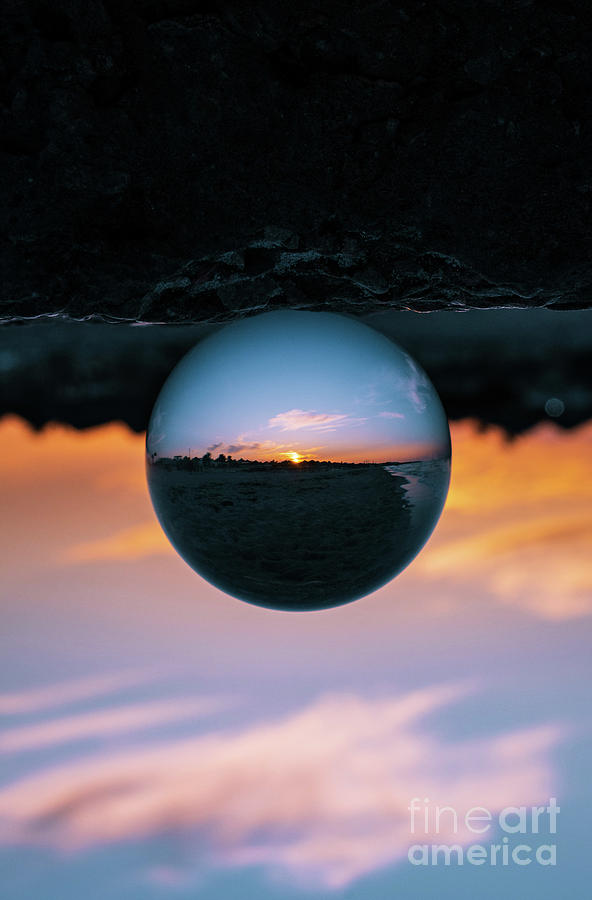 View Of Sunset Reflected In Glass Ball Photograph by Houssem Chaaouri / 500px