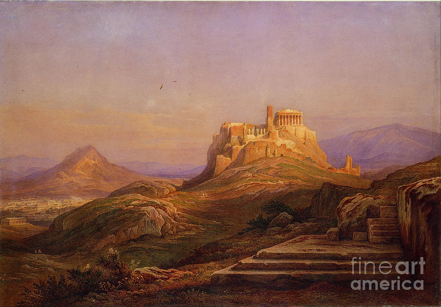 View Of The Acropolis From The Pnyx Drawing by Heritage Images
