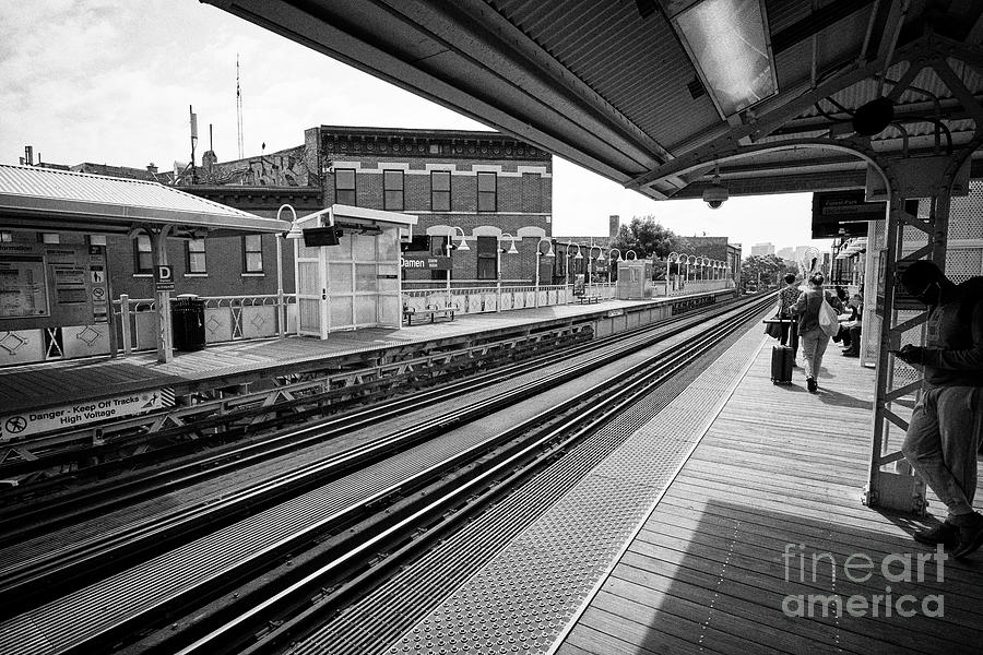 Chicago Photograph - view of the blue line L train station at Damen Chicago IL USA by Joe Fox