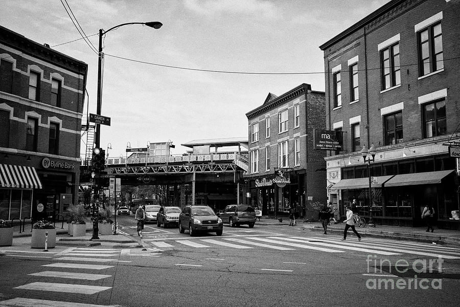 Chicago Photograph - view of the blue line L train station at Damen from six corners wicker park Chicago IL US by Joe Fox