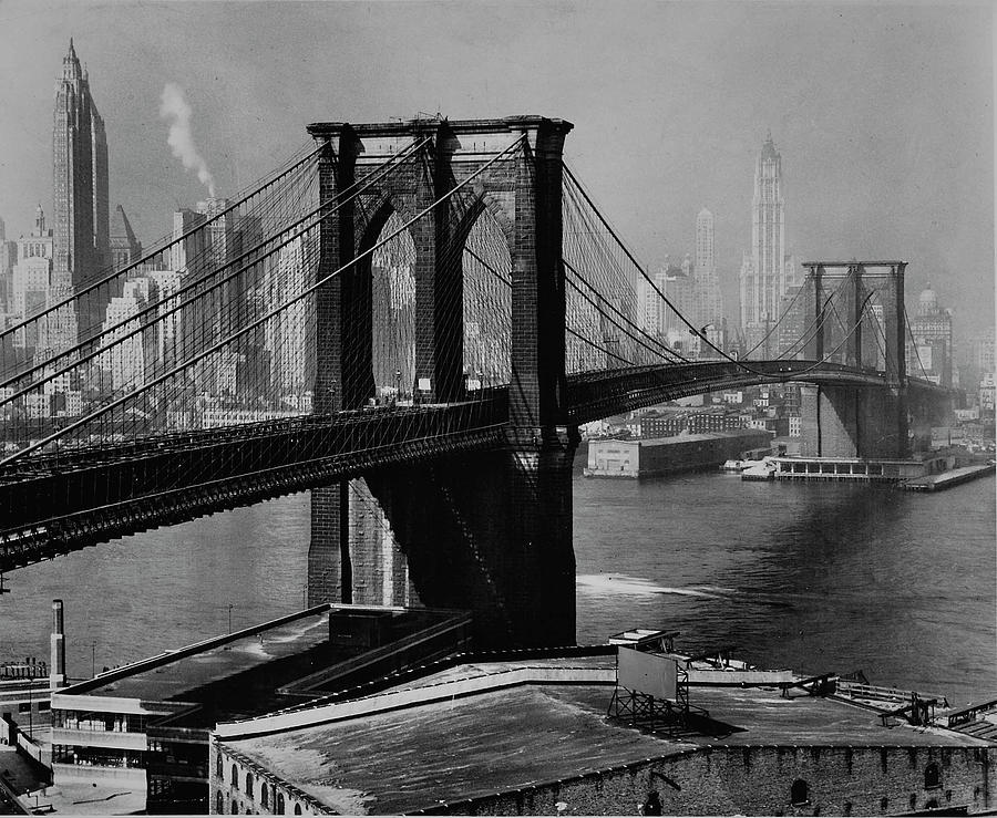 View Of The Brooklyn Bridge & The Skyscr Photograph by Andreas Feininger