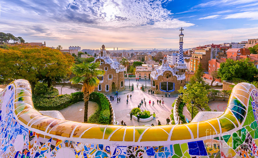 Ceramic Photograph - View Of The City From Park Guell In by Georgios Tsichlis