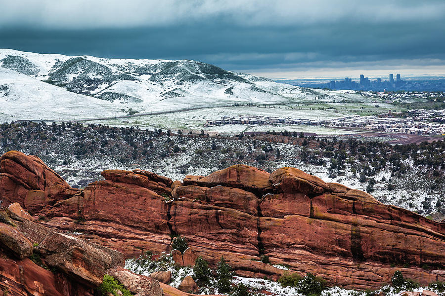 View of the Denver Skyline from Red Rocks Amphitheatre by Jeanette Fellows