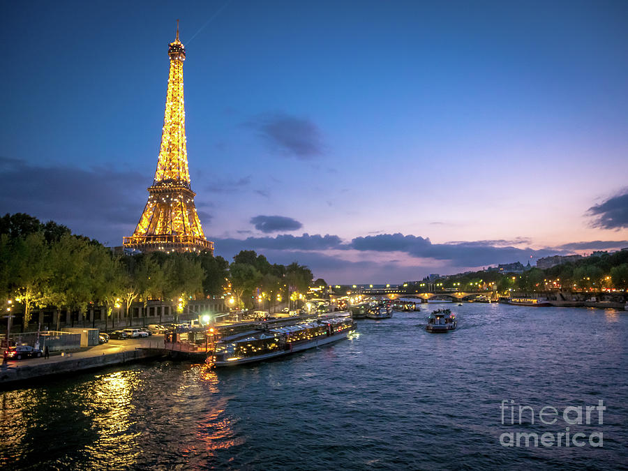 Beautiful Photograph - View Of The Eiffel Tower During Sunset From The Scene River by PorqueNo Studios