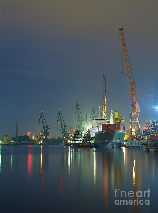 Container Photograph - View Of The Quay Shipyard Of Gdansk by Nightman1965