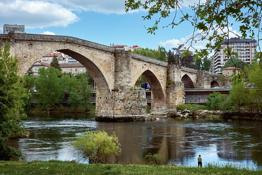 View of the Roman Bridge and the Minho river by Eduardo Jose Accorinti